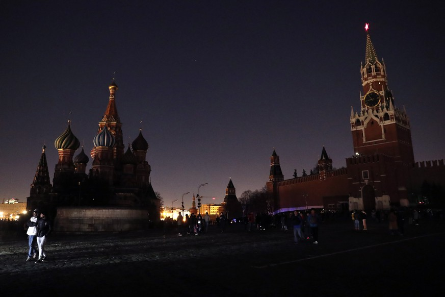 epa07474654 A view of the Kremlin with switched off illumination to mark Earth Hour, in Moscow, Russia, 30 March 2019. Earth Hour is an annual event in which lights are switched off in major cities around the world to draw attention to energy consumption and its environmental effects. The aim is to give people a voice on the planet's future and an opportunity to work together to create a sustainable low carbon future for planet earth.  EPA/MAXIM SHIPENKOV