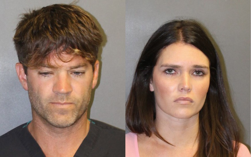 epa07031224 A combo handout booking image released by the Orange County District Attorney's Office on 18 September 2018 showing Grant William Robicheaux, 38, (L) and Cerissa Laura Riley, 31, (R) who have been arrested and charged for allegedly sexually assaulting two women by use of drugs, in Newport Beach, California, USA. The Orange County District Attorney's Office is seeking potential additional victims after reportedly finding hundreds of videos of potential victims on the couples' phones.  EPA/Orange County District Attorney's Office / HANDOUT  HANDOUT EDITORIAL USE ONLY/NO SALES
