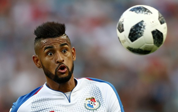 Panama's Anibal Godoy watches the ball during the group G match between Belgium and Panama at the 2018 soccer World Cup in the Fisht Stadium in Sochi, Russia, Monday, June 18, 2018. (AP Photo/Matthias Schrader)