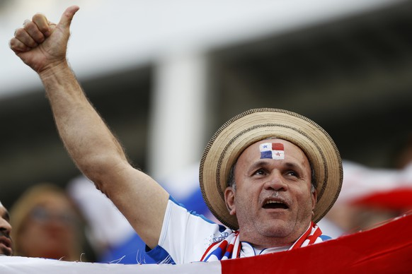 A Panama fan cheers prior the group G match between Belgium and Panama at the 2018 soccer World Cup in the Fisht Stadium in Sochi, Russia, Monday, June 18, 2018. (AP Photo/Victor R. Caivano)