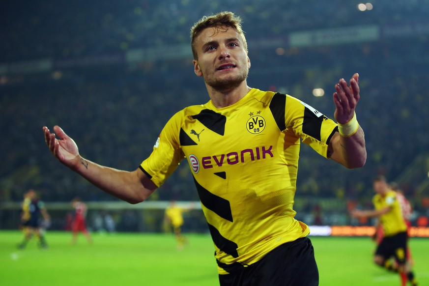 DORTMUND, GERMANY - SEPTEMBER 24:  Ciro Immobile of Dortmund celebrates his team's second goal during the Bundesliga match between Borussia Dortmund and VfB Stuttgart at Signal Iduna Park on September 24, 2014 in Dortmund, Germany.  (Photo by Alex Grimm/Bongarts/Getty Images)