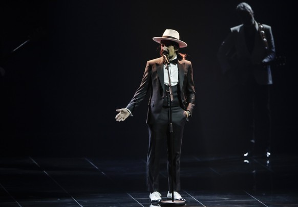 The Black Mamba from Portugal perform during rehearsals at the Eurovision Song Contest at Ahoy arena in Rotterdam, Netherlands, Wednesday, May 19, 2021. (AP Photo/Peter Dejong) The Black Mamba from Portugal