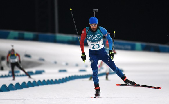 epa06528254 Martin Fourcade of France in action during the Men's Biathlon 20 km Individual race at the Alpensia Biathlon Centre during the PyeongChang 2018 Olympic Games, South Korea, 15 February 2018.  EPA/CHRISTIAN BRUNA