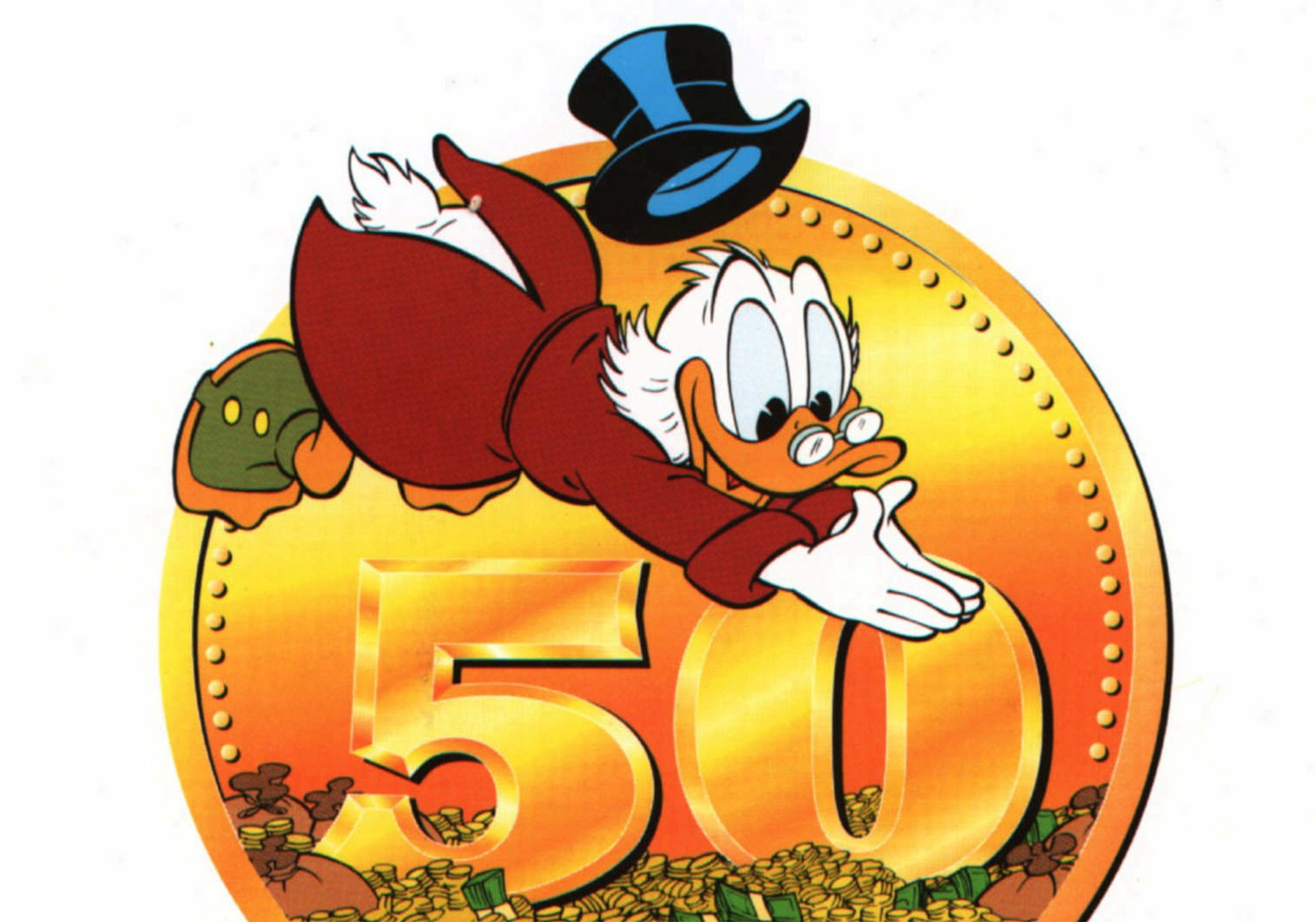 Uncle Scrooge McDuck jumps into a pile of money in this undated picture released by the Walt Disney Co. in 2002 to coincide with the 50th anniversary of the miserly character. Comcast Corp. astounded the financial world with its offer to buy The Walt Disney Co. on Wednesday, Feb. 11, 2004, yet the cable television giant now faces a daunting task in selling the blockbuster combination_ and investors have already indicated the proposed price is too meager. (AP Photo/Disney) **   **