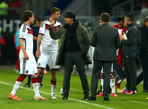 HAMBURG, GERMANY - MAY 13:  Joachim Loew, head coach of Germany gestrures during the International Friendly Match between Germany and Poland at Imtech Arena on May 13, 2014 in Hamburg, Germany.  (Photo by Martin Rose/Bongarts/Getty Images)