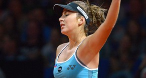 epa04716567 Belinda Bencic of Switzerland reacts during her first round match against Julia Goerges of Germany at the WTA tennis tournament in Stuttgart, Germany, 22 April 2015.  EPA/MARIJAN MURAT