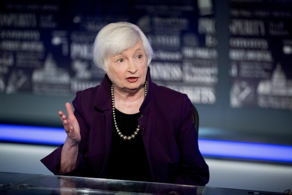 Former Fed Chair Janet Yellen speaks with FOX Business Network guest anchor Jon Hilsenrath in the Fox Washington bureau, Wednesday, Aug. 14, 2019, in Washington. The interview will air this Friday at 9:30PM/ET on FOX Business Network's WSJ at Large with Gerry Baker. (AP Photo/Andrew Harnik) Janet Yellen,Jon Hilsenrath