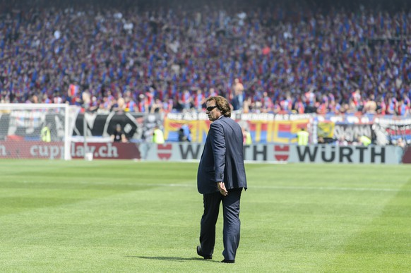 Sion's president Christian Constantin looks on during the Swiss Cup final soccer match between FC Basel and FC Sion at the St. Jakob-Park stadium in Basel, Switzerland, Sunday, June 7, 2015. (KEYSTONE/Jean-Christophe Bott)
