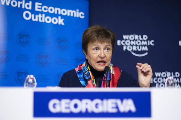 epa08144509 Kristalina Georgieva, Managing Director, International Monetary Fund (IMF), during a press conference regarding the World Economic Outlook Update, prior the 50th annual meeting of the World Economic Forum (WEF) in Davos, Switzerland, 19 January 2020. The meeting brings together entrepreneurs, scientists, corporate and political leaders in Davos under the topic 'Stakeholders for a Cohesive and Sustainable World' from 21 to 24 January 2020.  EPA/GIAN EHRENZELLER
