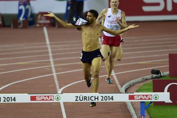 14.Aug.2014; Zuerich; Leichtathletik - EM Zuerich 2014;Mahledine Mekhissi-Benabbad (FRA) ueber 3000 Meter Steeple (Andy Mueller/freshfocus)