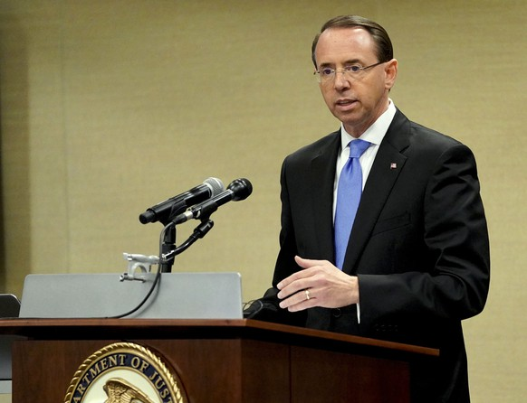 Deputy Attorney General Rod Rosenstein speaks at a law enforcement roundtable on improving the identification and reporting of hate crimes at Department of Justice Monday, Oct. 29, 2018, in Washington. (AP Photo/Pablo Martinez Monsivais)