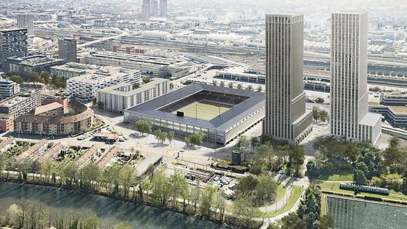 Das geplante Fussballstadion mit zwei Wohnhochh
