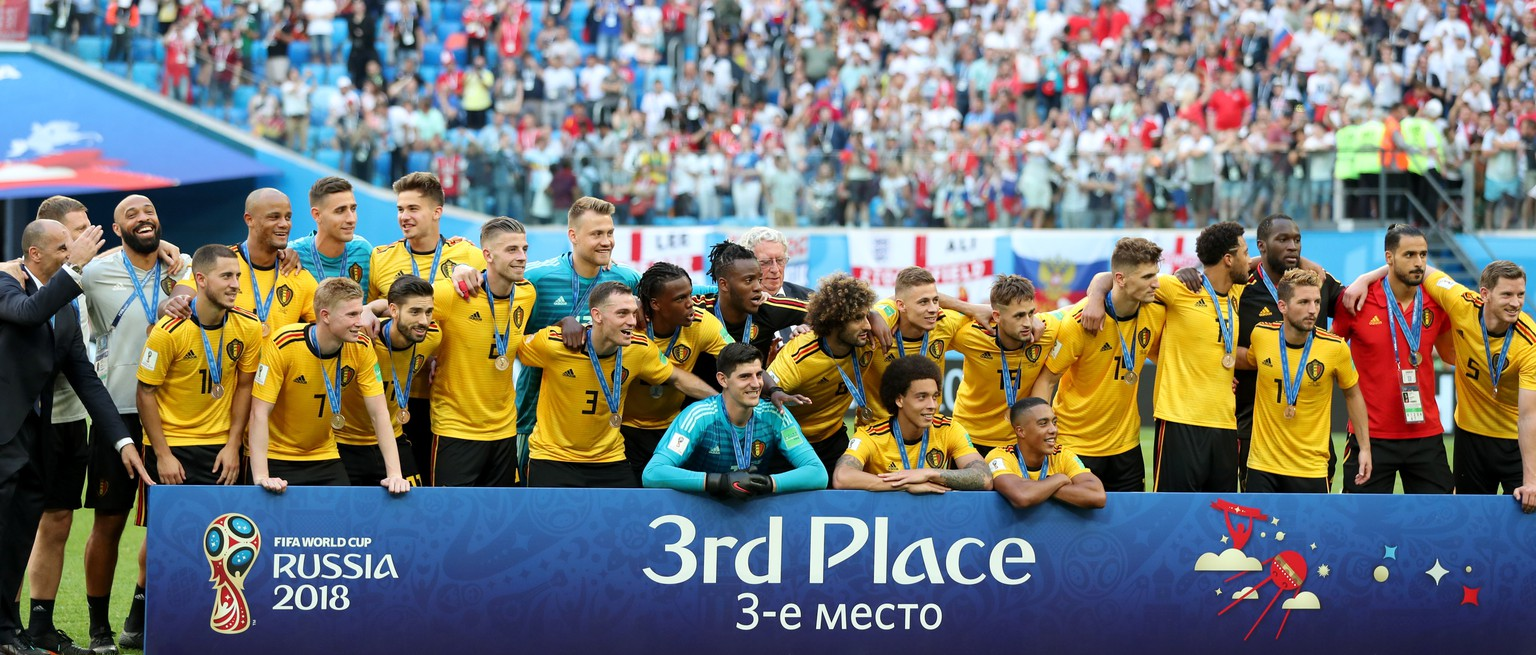 epa06888674 Players of Belgium celebrate winning the FIFA World Cup 2018 third place soccer match between Belgium and England in St.Petersburg, Russia, 14 July 2018.