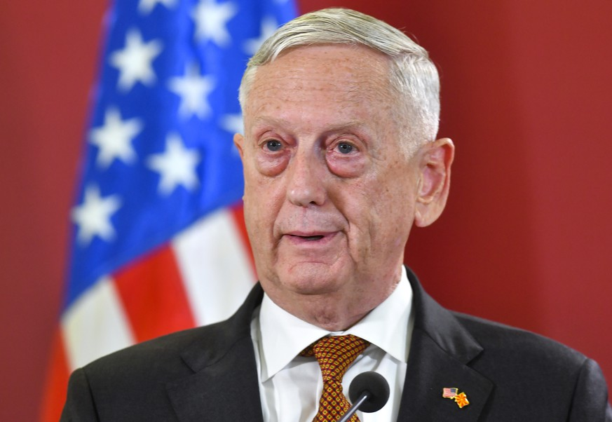 epa07026785 US Secretary of Defense Jim Mattis speaks at a joint press conference with FYR of Macedonia Prime Minister Zoran Zaev (not pictured) at the Government building in Skopje, The Former Yugoslav Republic Of Macedonia (FYROM), 17 September 2018. Secretary Mattis is a one-day visit to FYROM.  EPA/GEORGI LICOVSKI