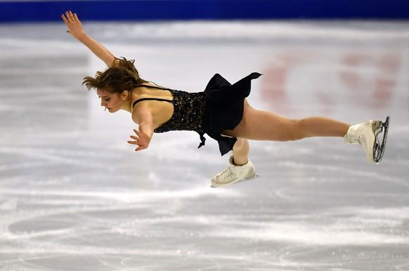 Alexia Paganini of Switzerland performs during the Ladies Short Program at the Figure Skating World Championships in Stockholm, Sweden, Wednesday, March 24, 2021. (AP Photo/Martin Meissner)