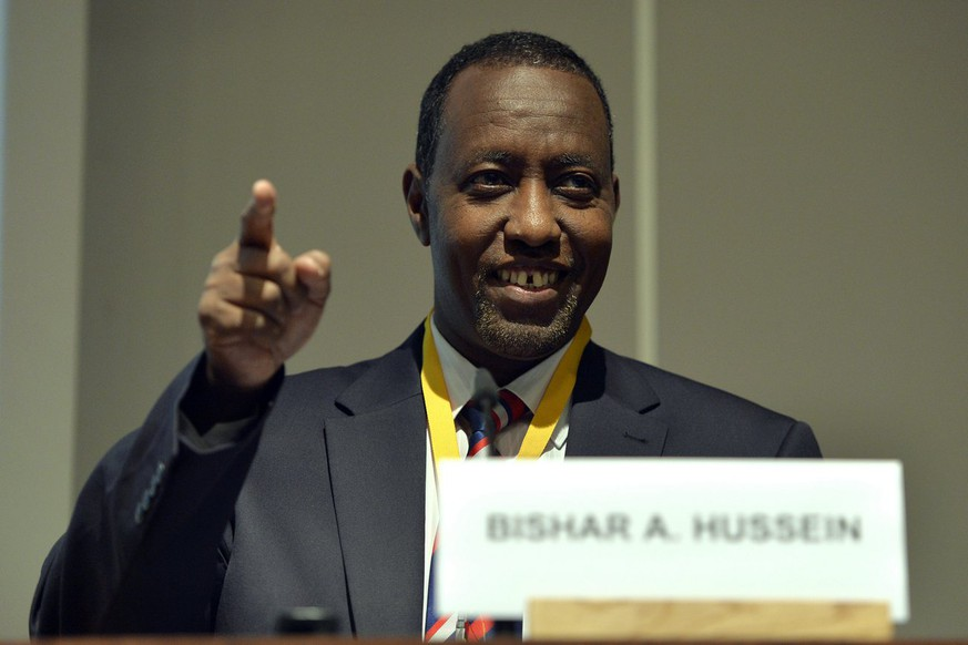 Bishar A. Hussein, Director General of the Universal Postal Union (UPU), delivers his speech during the Universal Postal Union UPU major conference at the International Conference Centre Geneva (CICG) in Geneva, Switzerland, Thursday, October 24, 2013. (KEYSTONE/Martial Trezzini)