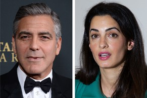 TO GO WITH AFP STORY by RANA MOUSSAOUI - Combo of two file pictures shows US actor George Clooney (November 9, 2013 in Beverly Hills) and Lebanese-born lawyer Amal Alamuddin (November 5, 2012 in London). Word that Beirut-born Amal Alamuddin has stolen the heart of Oscar-winning heartthrob George Clooney has caused a frenzy in Lebanon, where citizens are more used to bad news.    AFP PHOTO / JOE KLAMAR / JUSTIN TALLIS