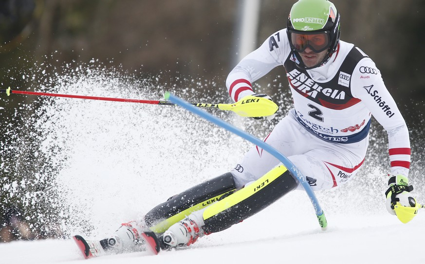 Austria's Michael Matt competes during an alpine ski, men's World Cup slalom in Zagreb, Croatia, Thursday, Jan. 4, 2018. (AP Photo/Giovanni Auletta)