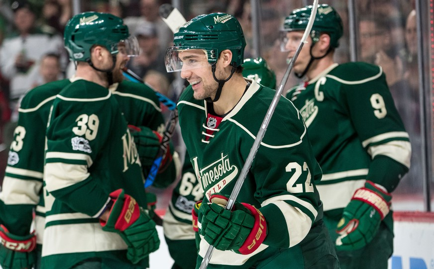 Feb 12, 2017; Saint Paul, MN, USA; Minnesota Wild forward Nino Niederreiter (22) celebrates his goal during the first period against the Detroit Red Wings at Xcel Energy Center. Mandatory Credit: Brace Hemmelgarn-USA TODAY Sports