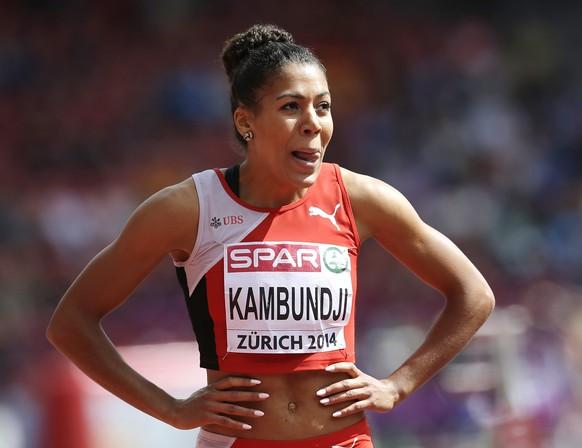 Switzerland's Mujinga Kambundji reacts after her 200m heat during the European Athletics Championships in Zurich, Switzerland, Thursday, Aug. 14, 2014. (AP Photo/Petr David Josek)