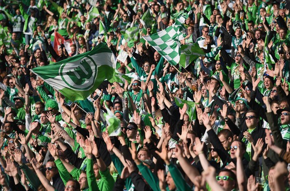 BERLIN, GERMANY - MAY 30: Wolfsburg fans enjoy the atmosphere ahead of the DFB Cup Final match between Borussia Dortmund and VfL Wolfsburg at Olympiastadion on May 30, 2015 in Berlin, Germany.  (Photo by Matthias Hangst/Bongarts/Getty Images)