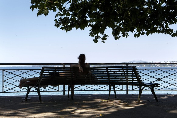 epa04826987 People enjoy the shadow of a tree on the bank of lake Geneva, in Geneva, Switzerland, 01 July 2015. The European weather forecast is promising high temperatures for the next few days.  EPA/SALVATORE DI NOLFI