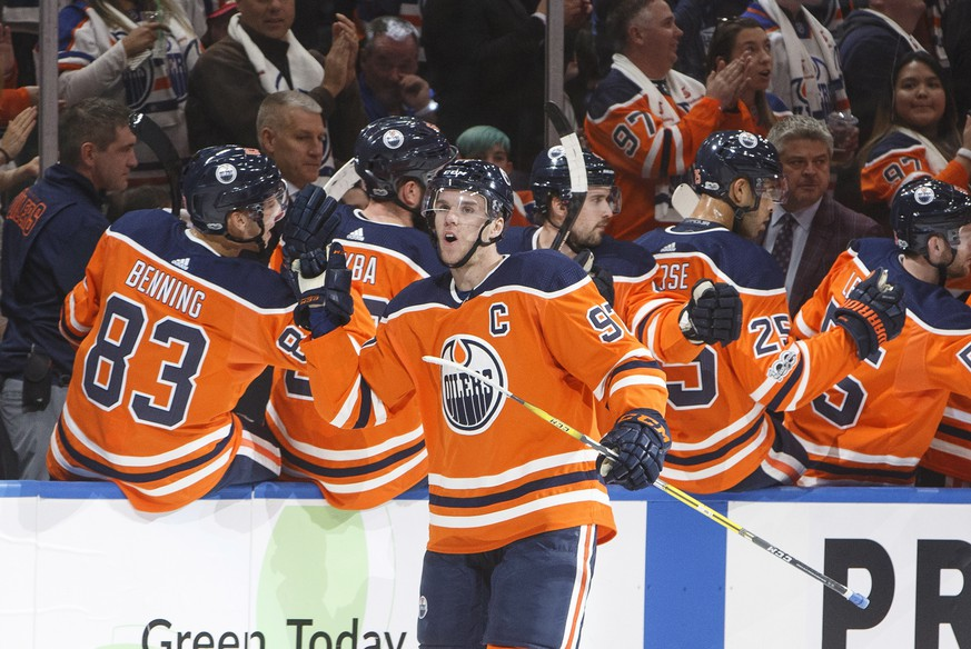 Edmonton Oilers' Connor McDavid (7) celebrates his goal against the Calgary Flames during the first period of an NHL hockey game Wednesday, Oct. 4, 2017, in Edmonton, Alberta. (Jason Franson/The Canadian Press via AP)