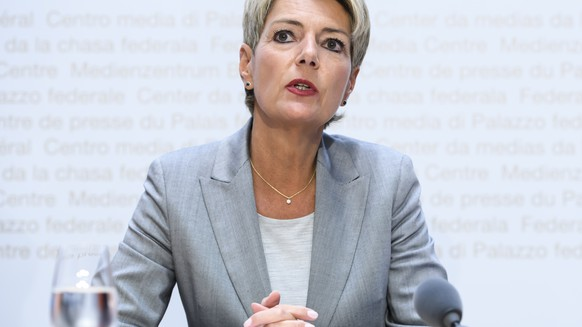 "Federal Councilor Karin Keller-Sutter speaks at a media conference on the topics ""Amendments to the DNA Profile Act: Opening of the consultation procedure"" and ""Message on Amending the Code of Criminal Procedure"", Wednesday, August 28, 2019, in the Federal Media Center in Bern.  (KEYSTONE / Anthony Anex)"
