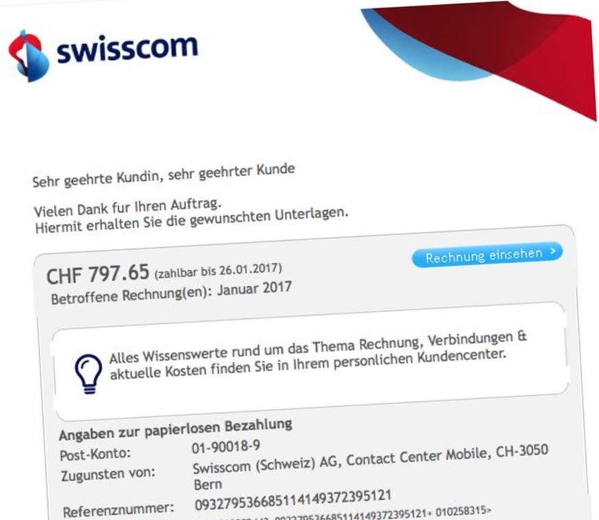 swisscom warnt vor fake rechnungen es lauert ein windows trojaner watson. Black Bedroom Furniture Sets. Home Design Ideas