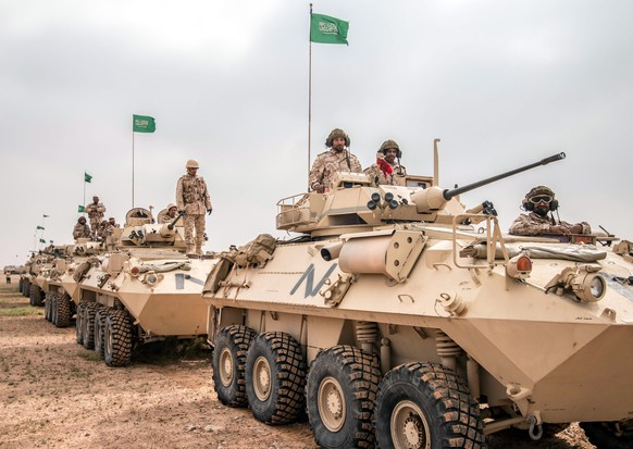 epa05190693 A handout photograph released by the official Saudi Press Agency (SPA) shows Saudi soldiers on armored vehicles during the multi-national military exercise 'North Thunder, at an undisclosed location in Saudi Arabia, 02 March 2016. According to reports, some 350,000 military personnel and over 2000 warplanes from 20 countries are participating in the military maneuver, dubbed 'North Thunder'.  EPA/SAUDI PRESS AGENCY / HANDOUT  HANDOUT EDITORIAL USE ONLY/NO SALES