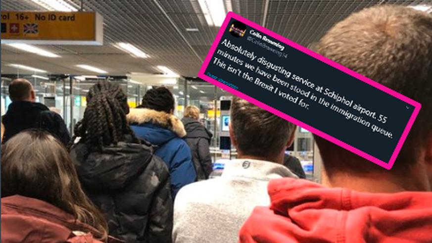 Brexit-Fan nervt sich über lange Warteschlange am Flughafen-Zoll – die Reaktionen sind 😂