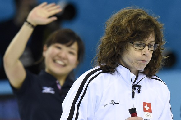 Swiss skip Mirjam Ott is desapointed after his team looses  the women's round robin game between Switzerland and Japan at the XXII Winter Olympics 2014 Sochi in Sochi, Russia, on Sunday, February 16, 2014. (KEYSTONE/Laurent Gillieron)