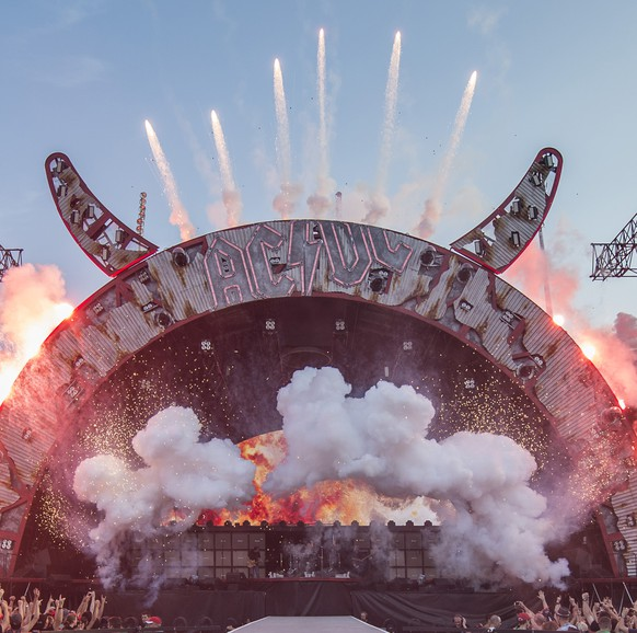 In this picture made available Saturday, June 6, 2015, the Australian hard rock band AC/DC performs on stage during the concert at Letzigrund stadium in Zurich, Switzerland, Friday, June 5, 2015. The band introduced its latest album