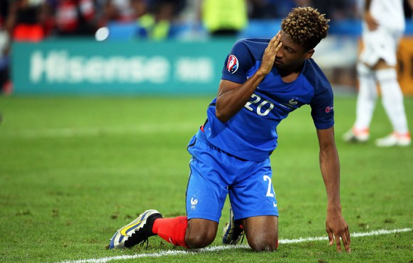 epa05368106 Kingsley Coman of France reacts during the UEFA EURO 2016 group A preliminary round match between France and Albania at Stade Velodrome in Marseille, France, 15 June 2016.  (RESTRICTIONS APPLY: For editorial news reporting purposes only. Not used for commercial or marketing purposes without prior written approval of UEFA. Images must appear as still images and must not emulate match action video footage. Photographs published in online publications (whether via the Internet or otherwise) shall have an interval of at least 20 seconds between the posting.)  EPA/OLIVER WEIKEN   EDITORIAL USE ONLY