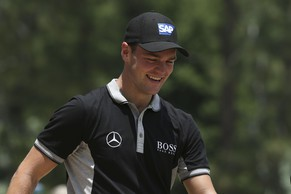 Jun 13, 2014; Pinehurst, NC, USA; Martin Kaymer smiles walking from the 8th tee box during the second round of the 2014 U.S. Open golf tournament at Pinehurst Resort Country Club - #2 Course. Mandatory Credit: Jason Getz-USA TODAY Sports