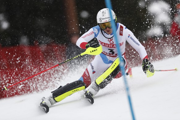 Switzerland's Wendy Holdener speeds down the course during the women's slalom, at the alpine ski World Championships in Are, Sweden, Saturday, Feb. 16, 2019. (AP Photo/Gabriele Facciotti)