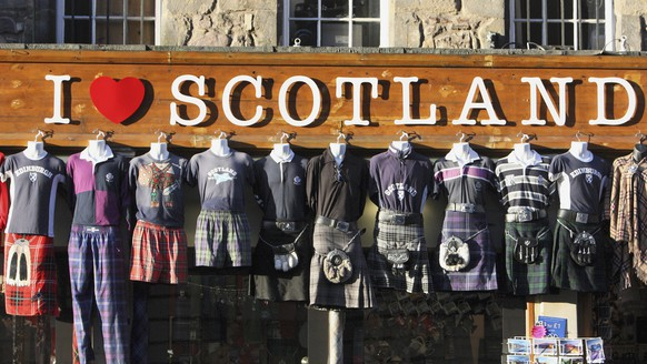 A display of kilts are seen for sale outside a Scottish memorabilia shop in Edinburgh, Scotland Friday, Jan. 13, 2012. This week Scottish authorities announced they will hold a referendum on independence in 2014, firing the starting pistol on a contest that could end in the breakup of Britain. Scotland's history has been entwined with that of its more populous southern neighbor for millennia, and since 1707 Scotland and England have been part of a single country, Great Britain, sharing a monarch, a currency and a London-based government. But for centuries before that, Scotland was an independent kingdom, warding off English invaders in a series of bloody battles. Now a more peaceful modern independence movement thinks its goal of regaining that autonomy is finally in sight.  (AP Photo/Scott Heppell)