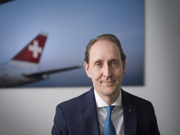 ARCHIV - ZUM ERGEBNIS 2020 DER SWISS STELLEN WIR IHNEN FOLGENDES BILDMATERIAL ZUR VERFUEGUNG - Dieter Vranckx, CEO der Fluggesellschaft SWISS, portaitiert am 1. Februar 2021 am Hauptsitz der Swiss in Kloten. (KEYSTONE/Gaetan Bally)