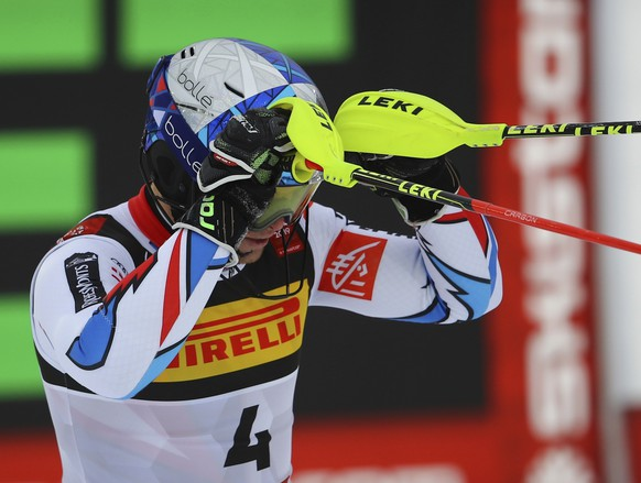France's Alexis Pinturault gets to the finish area after completing the men's slalom, at the alpine ski World Championships in Are, Sweden, Sunday, Feb. 17, 2019. (AP Photo/Marco Trovati)