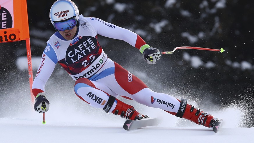 Switzerland's Mauro Caviezel competes during an alpine ski, men's World Cup downhill, in Bormio, Italy, Thursday, Dec. 28, 2017. (AP Photo/Marco Trovati)