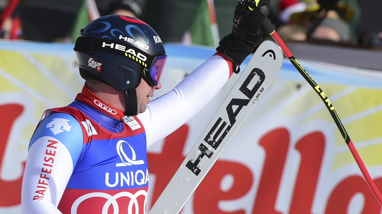 Switzerland's Beat Feuz reacts at finish line after completing an alpine ski, men's World Cup downhill, in Saalbach, Austria, Thursday, Feb. 13, 2020. (AP Photo/Marco Tacca)