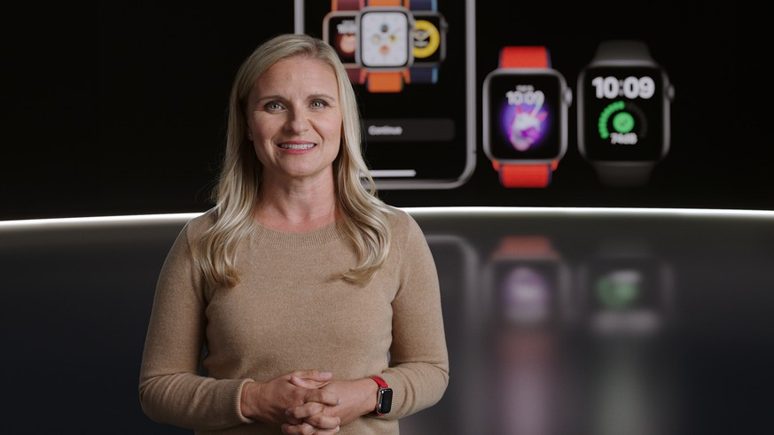 epa08671247 Handout video still image released by Apple showing Deidre Caldbeck introducing Family Setup in watchOS 7 for Apple Watch during an Apple Event at Apple Park in Cupertino, California, USA 15 September 2020. Apple is expected to introduce several new products.  EPA/APPLE / HANDOUT EDITORIAL USE ONLY, NO SALES