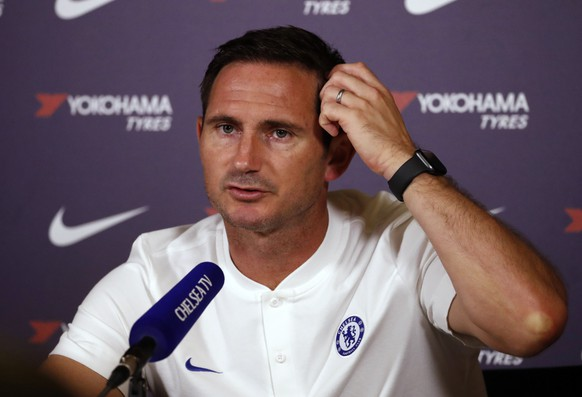 Chelsea's manager Frank Lampard speaks at a media conference at the teams training ground in Cobham, England, Friday, Aug. 9, 2019. Chelsea play Manchester United in Manchester on Sunday in their opening English Premier League 2019/2020 fixture. (AP Photo/Alastair Grant) Frank Lampard