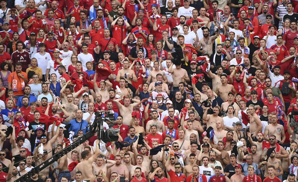 Czech Republic fans inside the stadium during the Euro 2020 soccer championship round of 16 match between the Netherlands and Czech Republic at the Puskas Arena in Budapest, Hungary, Sunday, June 27, 2021. (Attila Kisbenedek/Pool via AP)
