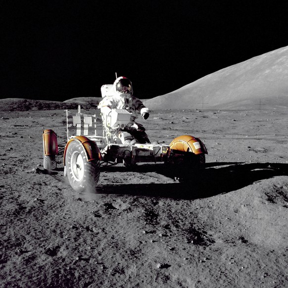 In this December 1972 photo provided by NASA, Apollo 17 commander Eugene Cernan makes a short checkout of the Lunar Roving Vehicle on the moon. NASA announced that former astronaut Cernan, the last man to walk on the moon, died Monday, Jan. 16, 2017, surrounded by his family. He was 82. (Harrison H.