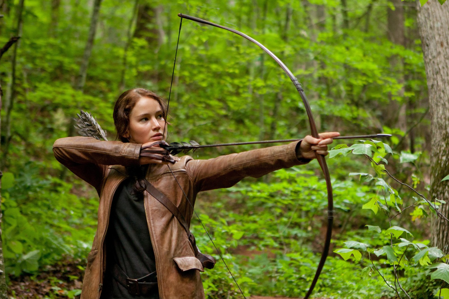 FILE - In this image released by Lionsgate, Jennifer Lawrence portrays Katniss Everdeen in a scene from
