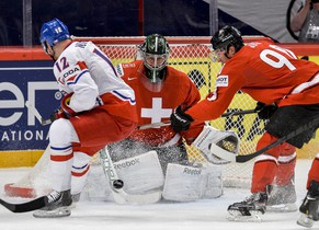 Swiss goalie Martin Gerber watches the puck during the Ice Hockey World Championship quarterfinal match against Czech Republic in Stockholm, Sweden, Thursday May 16, 2013. (AP Photo/Anders Wiklund) SWEDEN OUT