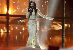 Conchita Wurst, representing Austria, performs the song