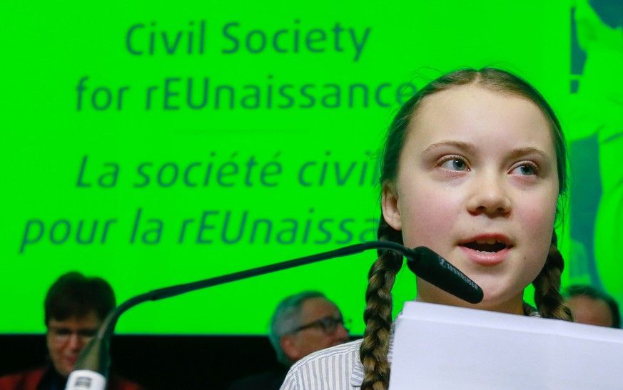 epa07384686 Sixteen year-old Swedish climate activist Greta Thunberg speaks during the European Economic and Social Committee (EESC) event; 'Civil Society for rEUnaissance' in Brussels, Belgium, 21 February 2019. On 21 February, Thunberg will join more than 10,000 students to walk for the climate in Brussels.  EPA/STEPHANIE LECOCQ