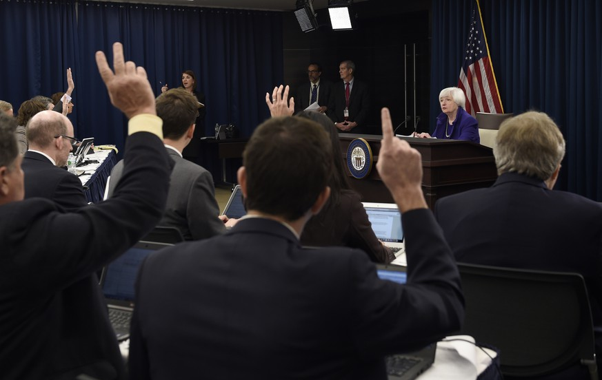 Federal Reserve Chair Janet Yellen speaks during a news conference in Washington, Wednesday, Dec. 16, 2015, following an announcement that the Federal Reserve raised its key interest rate by quarter-point, heralding higher lending rates in an economy much sturdier than the one the Fed helped rescue in 2008. (AP Photo/Susan Walsh)